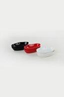 Keramika Siyah Beyaz Krmızı Deniz Çerezlik Sosluk 14 cm 6 Adet