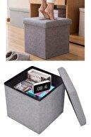 Vip Home Concept Market Ürünleri Katlanır Puf Koltuk Makyaj Masası Tabure Sandıklı Puf Ayak Dayama Uzatma Pufu Gri