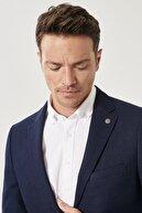 Altınyıldız Classics Erkek Lacivert Slim Fit Dar Kesim Mono Yaka Blazer Ceket