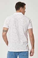Altınyıldız Classics Erkek Beyaz-Haki Polo Yaka Cepsiz Slim Fit Dar Kesim %100 Koton Desenli Tişört
