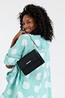 Ludo Vico Kadın Siyah Timsah Desenli Omuz Çantası
