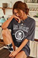 Millionaire Kadın Antrasit Oversize Los Angeles Baskılı T-shirt