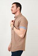 Buratti Erkek Kahverengi Düğmeli Yaka Pamuk Gömlek Cf21s112546