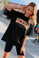 Millionaire Kadın Siyah Oversize Michigan Baskılı T-Shirt