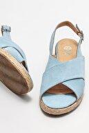 Elle Kadın Mavi Deri Dolgu Topuklu Sandalet