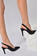 Fox Shoes Kadın Siyah Suni Deri Sivri Burun Topuklu Ayakkabı K404910309