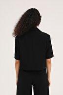 Quzu Kadın Kısa Kol Crop Blazer Ceket Siyah
