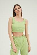 Quzu Kadın Yeşil Askılı Crop Bluz