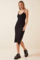 Happiness İst. Kadın Siyah Askılı Yırtmaçlı Örme Elbise PG00010