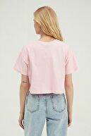 Quzu Pembe Nakış Detaylı Crop Tişört