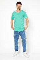 Tarz Cool Erkek Orman Yeşili Pis Yaka Salaş T-shirt-tcps001r54m