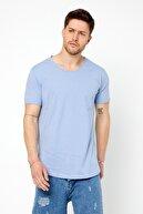 Tarz Cool Erkek Koyu Mavi Pis Yaka Salaş T-shirt-tcps001r50s