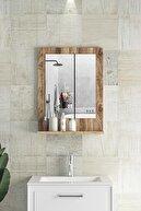 bluecape Verona 45x60cm Ceviz Raflı Banyo Dolabı Dresuar Hol Koridor Duvar Salon Wc Ofis Yatak Odası Boy Ayna