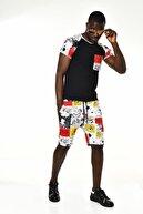 DAVID&GERENZO Siyah/beyaz Desenli Şort T-shirt Takım