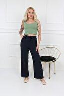 Transacoustic Kadın Lacivert Palazzo Tiril Kumaş Beli Lastikli Geniş Paça Kemerli Yazlık Pantolon
