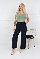 Transacoustic Kadın Lacivert Palazzo Tiril Kumaş Beli Lastikli Geniş Paça Yazlık Pantolon