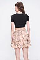 Trend Alaçatı Stili Kadın Koyu Bej Fırfırlı Mini Etek ALC-X5763
