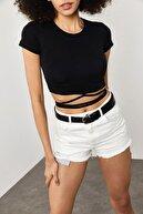 Xena Kadın Siyah Bağcıklı T-Shirt 1YZK2-11757-02