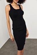 Xena Kadın Siyah Düğmeli Fitilli Elbise 1YZK6-11763-02