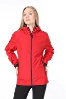 Ghassy Co Kadın Kırmızı  Rüzgarlık/yağmurluk Omuz Detaylı Mevsimlik Spor Ceket
