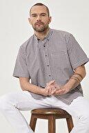 Altınyıldız Classics Erkek Beyaz-Kahverengi Regular Fit Düğmeli Yaka Kısa Kollu Yazlık Kareli Gömlek