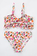 Penti Kız Çocuk Pembe Orange Frill Bikini Takımı
