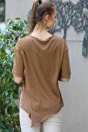 Chiccy Kadın Taba Sıfır Yaka Dev Ağaç Baskılı Yanı Lazer Kesim Asimetrik Yıkamalı T-Shirt M10010300TS98234