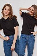 LEKKER Kadın Siyah 2'li Paket Bisiklet Yaka Vatkalı Pamuklu Duble Kol Basic T-shirt