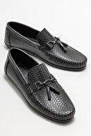 Elle Erkek Siyah Deri Püskül Detaylı Loafer Ayakkabı