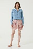 Network Kadın Basic Fit Mavi Cep Detaylı Denim Gömlek 1079829