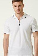 Network Erkek Slim Fit Beyaz Polo Yaka T-shirt 1079177