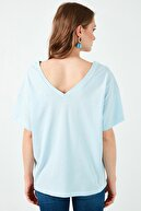 Lela Kadın Mavi  % 100 Pamuklu Baskılı V Yaka T Shirt 6010022