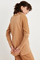 Love My Body Kadın Camel Bato Yaka Sweatshirt 187L7799000
