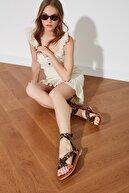 Trendyol Shoes Siyah Hakiki Deri Kadın Sandalet TAKSS21SD0030