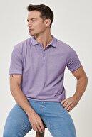 Altınyıldız Classics Erkek Mor-Beyaz Düğmeli Polo Yaka Cepsiz Slim Fit Dar Kesim Düz Tişört