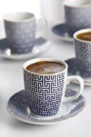 English Home Fiore Porselen 6'lı Kahve Fincan Takımı 100 ml Mavi