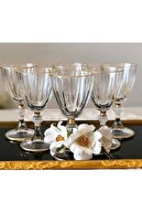 EVRA Agız Kısmı Gold Yaldızlı Ayaklı Kristal 6 Lı Kahve Yanı Su Bardağı