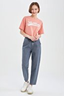 Defacto Coool Slogan Baskılı Relax Fit Crop Tişört