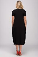 Şans Kadın Siyah Yazma Cep Viskon Kumaş Elbise 65N24029