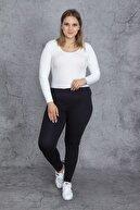 Şans Kadın Lacivert Kendinden Çizgili Bel Kısmı Lastikli Likralı Tayt Pantolon 65N23992