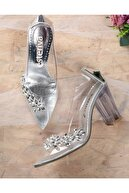 esteriva Şeffa Taşlı Şeffaf Topuklu Kadın Ayakkabısı Stiletto