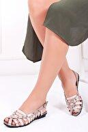 Deripabuc Hakiki Deri Vizon Karma Kadın Deri Sandalet Dp11-6203