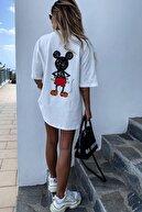 MODAGEN Kadın Beyaz Mikey Mouse T-shirt