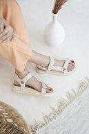 Straswans Kadın Cırt Detay Günlük Sandalet Bej