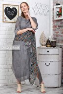 Chiccy Kadın Füme Sıfır Yaka Kolları Ayarlı Çiçekli Bloklu Tek Cepli Yıkamalı Elbise C10160000EL95075