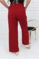 Transacoustic Kadın Kırmızı Palazzo Tiril Kumaş Beli Lastikli Geniş Paça Yazlık Pantolon