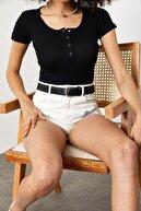 Xena Kadın Siyah Çıtçıtlı Fitilli Bluz 1YZK2-11754-02