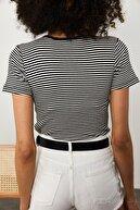 Xena Kadın Siyah Çizgili Fitilli T-Shirt 1YZK1-11737-02