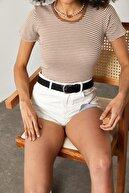 Xena Kadın Bej Çizgili Fitilli T-Shirt 1YZK1-11737-25