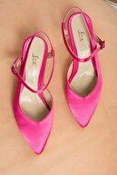 Fox Shoes Fuşya Saten Kumaş Kadın Topuklu Ayakkabı K354009104
